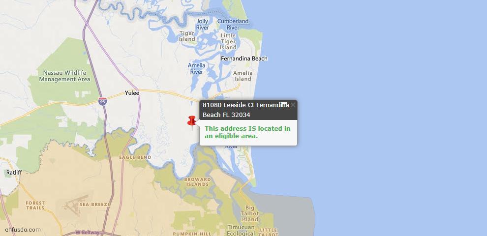 USDA Loan Eligiblity Map - 81080 Leeside Ct, Fernandina Beach, FL 32034