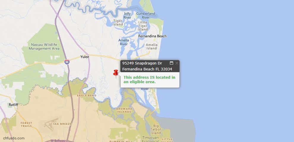 USDA Loan Eligiblity Map - 95249 Snapdragon Dr, Fernandina Beach, FL 32034