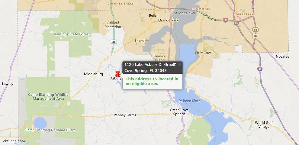 USDA Loan Eligiblity Map - 1120 Lake Asbury Dr, Green Cove Spr, FL 32043