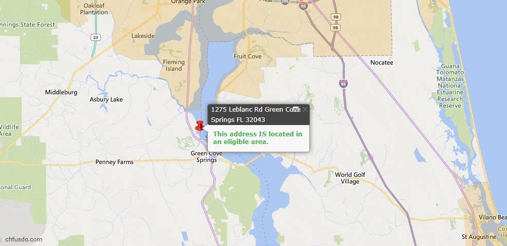 USDA Loan Eligiblity Map - 1275 Leblanc Rd, Green Cove Springs, FL 32043