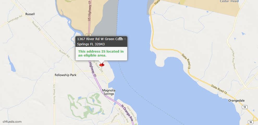 USDA Loan Eligiblity Map - 1367 West River Rd, Green Cove Spr, FL 32043