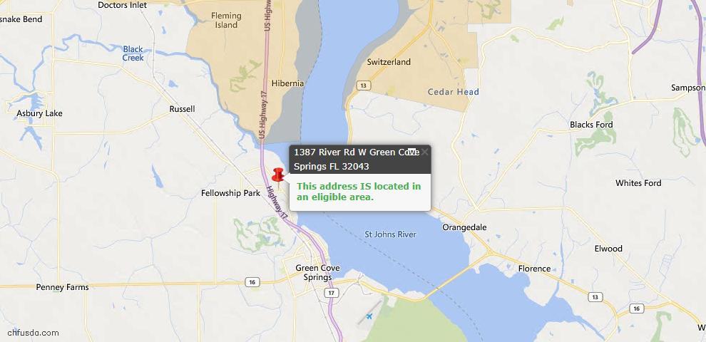 USDA Loan Eligiblity Map - 1387 River Rd West, Green Cove Spr, FL 32043