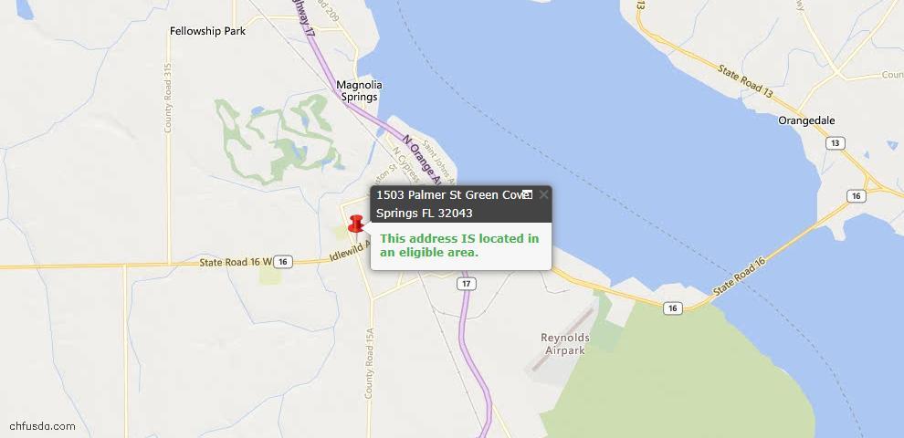 USDA Loan Eligiblity Map - 1503 Palmer St, Green Cove Spr, FL 32043