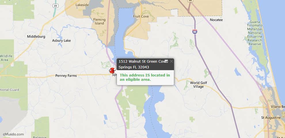 USDA Loan Eligiblity Map - 1512 Walnut St, Green Cove Spr, FL 32043