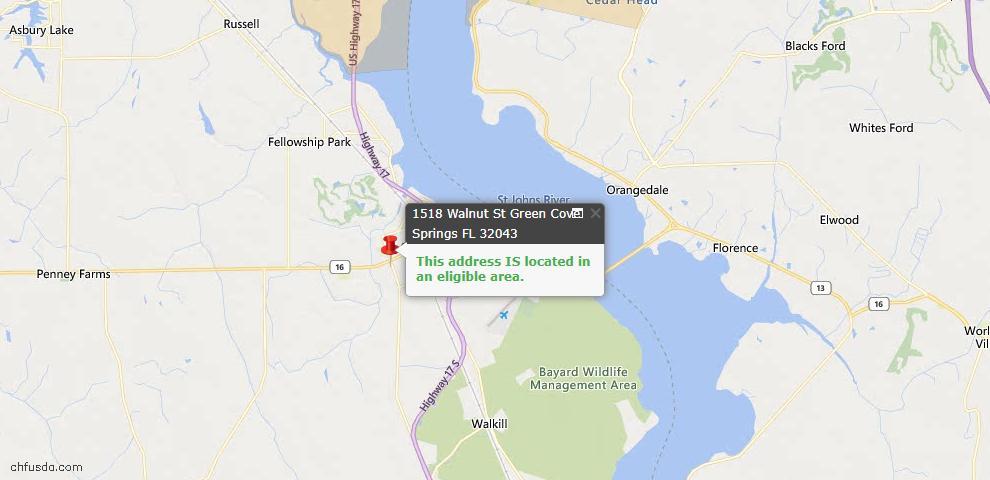 USDA Loan Eligiblity Map - 1518 Walnut St, Green Cove Spr, FL 32043