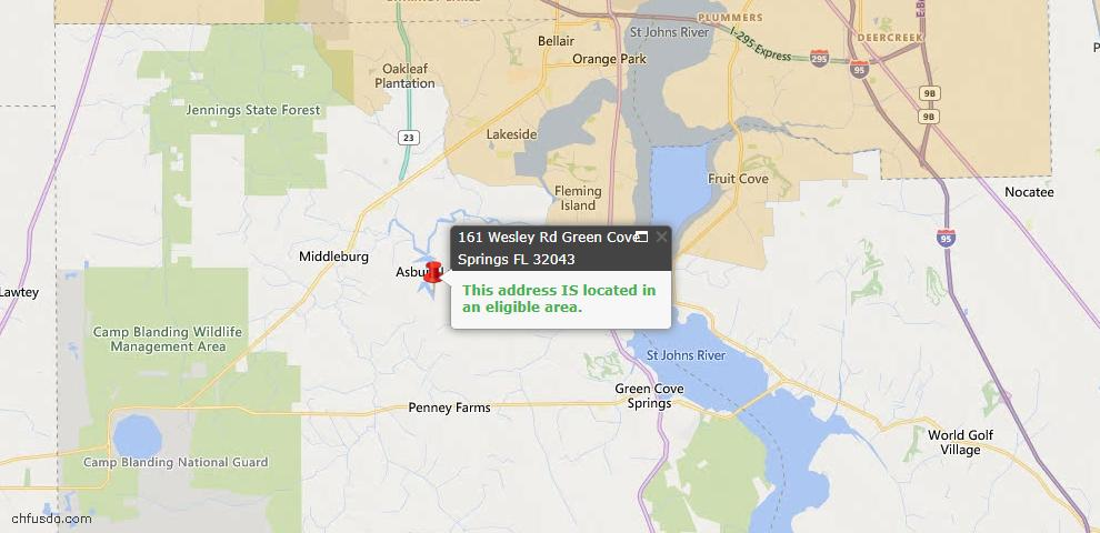 USDA Loan Eligiblity Map - 161 Wesley Rd, Green Cove Spr, FL 32043