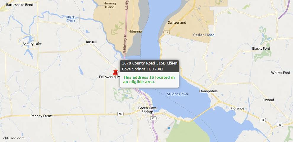 USDA Loan Eligiblity Map - 1670 County Road 315b, Green Cove Spr, FL 32043