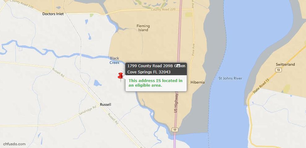 USDA Loan Eligiblity Map - 1799 County Road 209b, Green Cove Spr, FL 32043