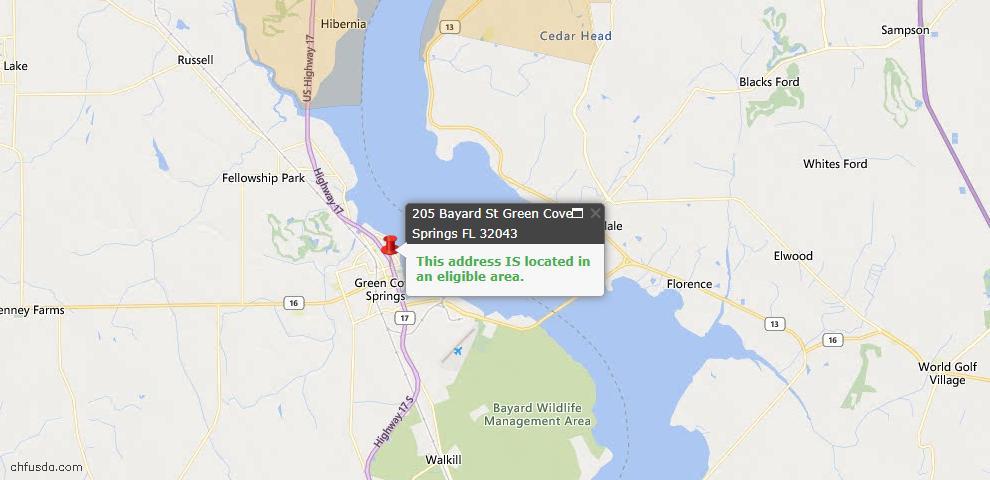 USDA Loan Eligiblity Map - 205 Bayard St, Green Cove Spr, FL 32043