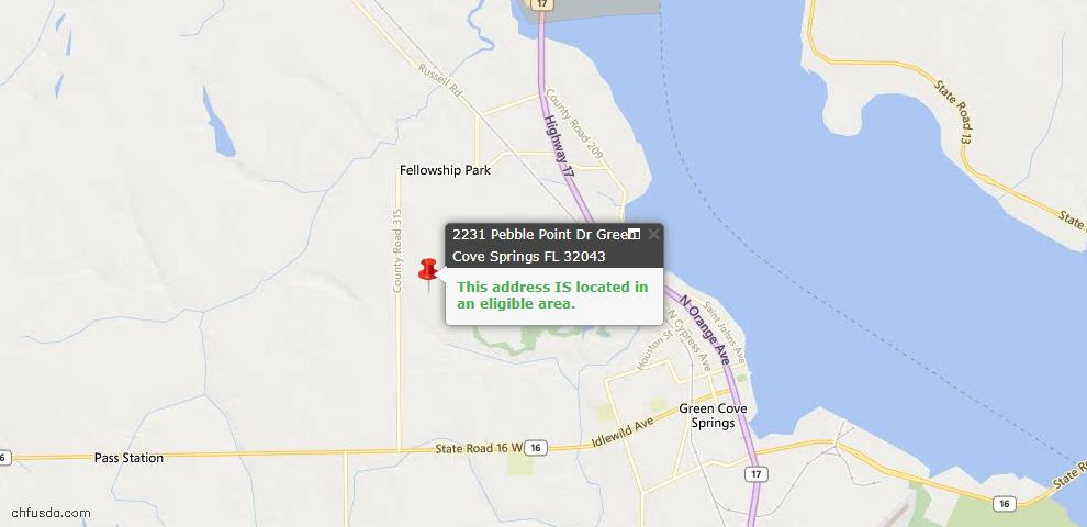 USDA Loan Eligiblity Map - 2231 Pebble Point Dr, Green Cove Spr, FL 32043