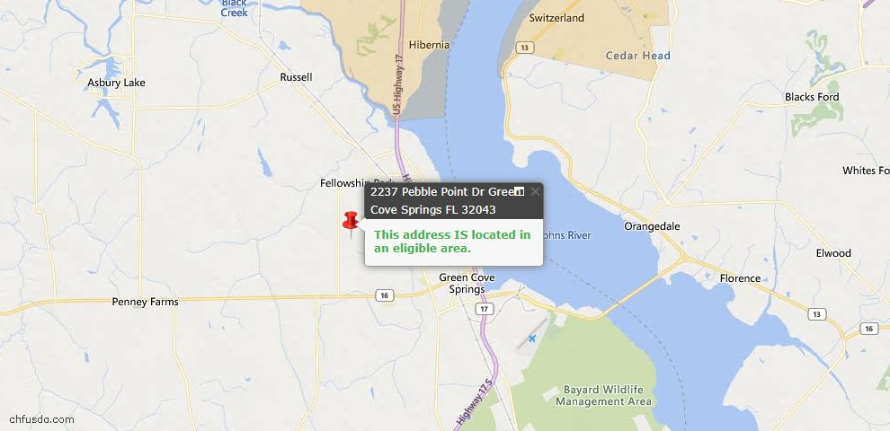 USDA Loan Eligiblity Map - 2237 Pebble Point Dr, Green Cove Spr, FL 32043