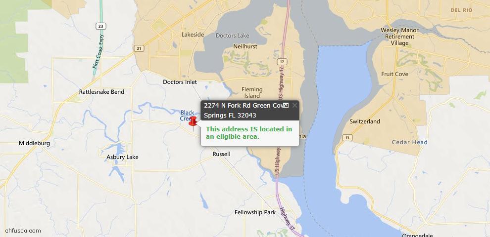 USDA Loan Eligiblity Map - 2274 North North Fork Rd, Green Cove Spr, FL 32043