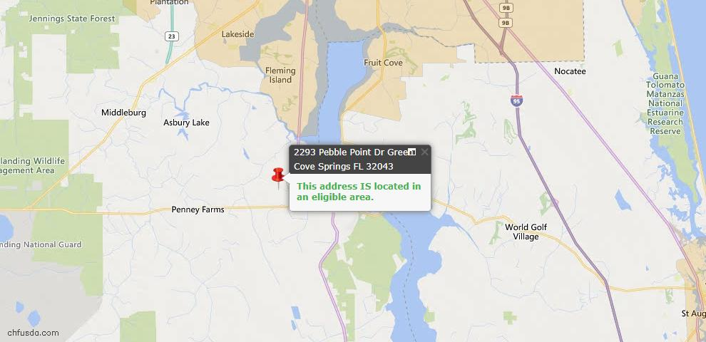 USDA Loan Eligiblity Map - 2293 Pebble Point Dr, Green Cove Spr, FL 32043