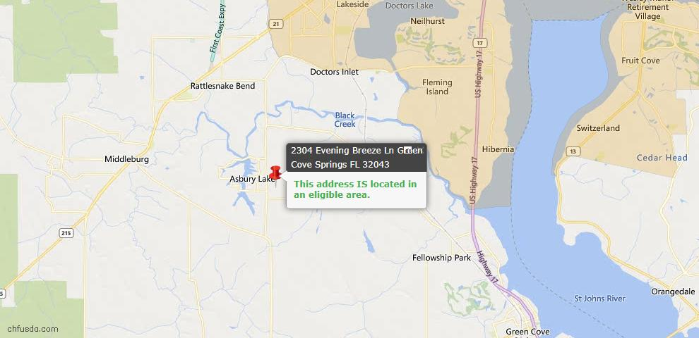USDA Loan Eligiblity Map - 2304 Evening Breeze Ln, Green Cove Spr, FL 32043