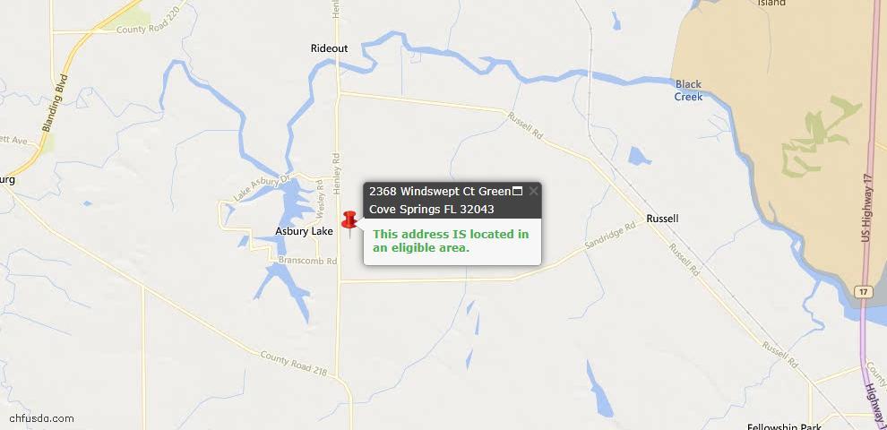 USDA Loan Eligiblity Map - 2368 Windswept Ct, Green Cove Spr, FL 32043