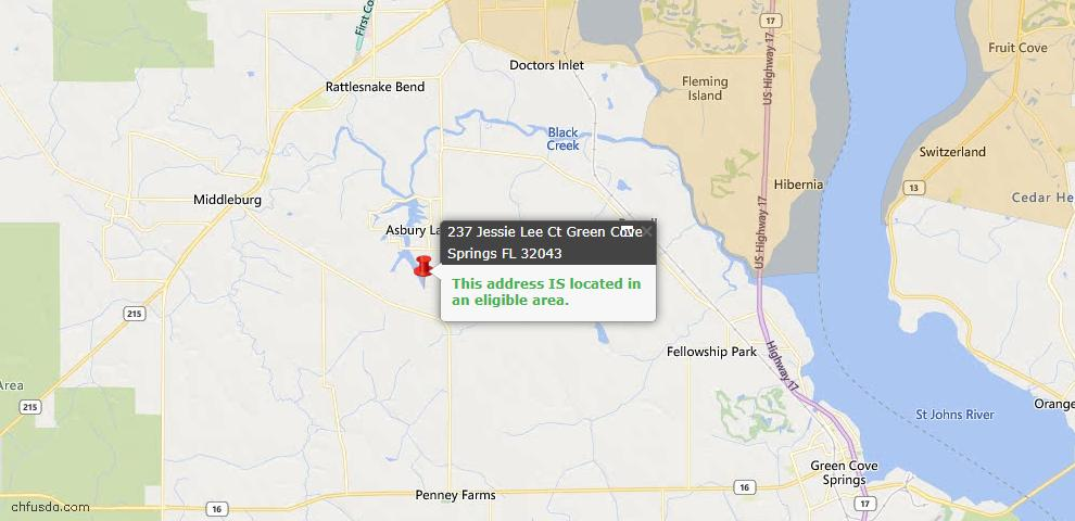 USDA Loan Eligiblity Map - 237 Jessie Lee Ct, Green Cove Spr, FL 32043