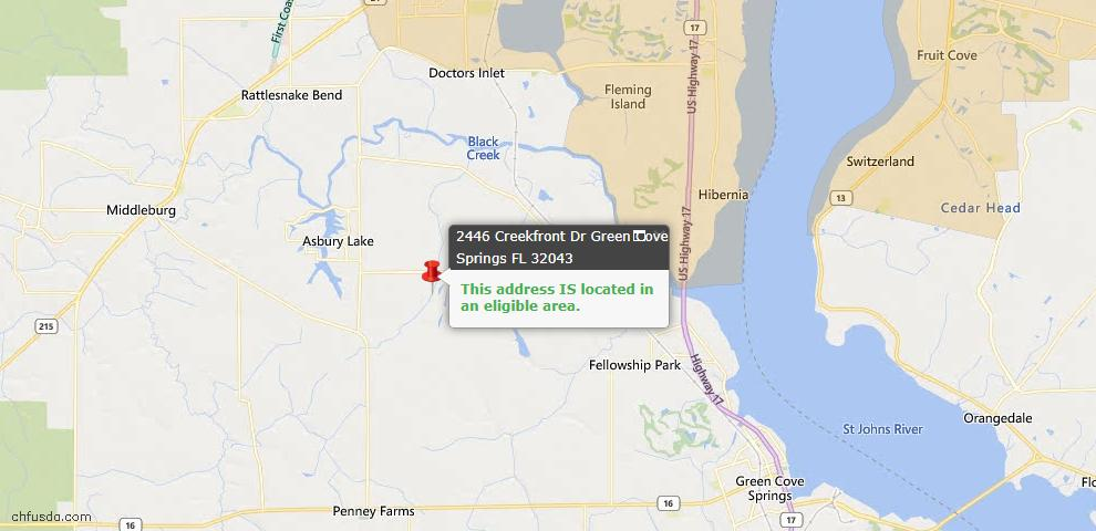 USDA Loan Eligiblity Map - 2446 Creekfront Dr, Green Cove Spr, FL 32043