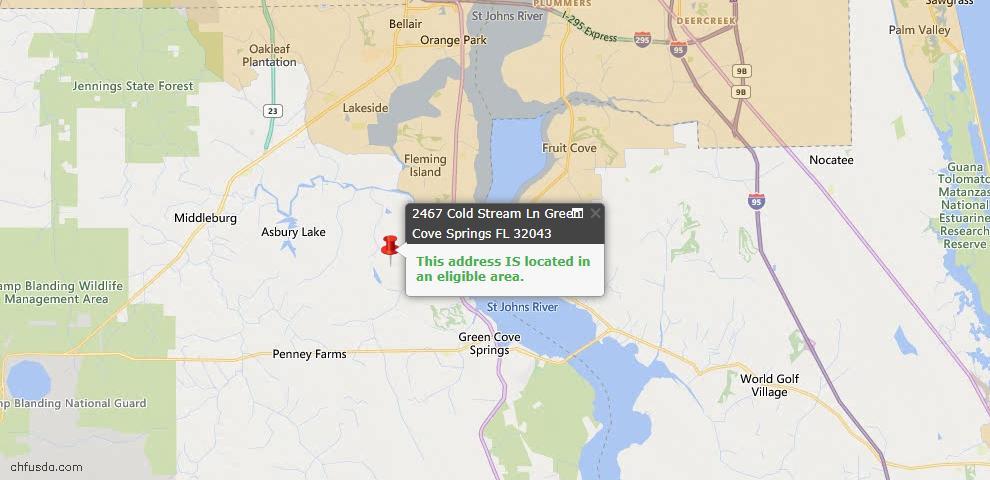 USDA Loan Eligiblity Map - 2467 Cold Stream Ln, Green Cove Spr, FL 32043