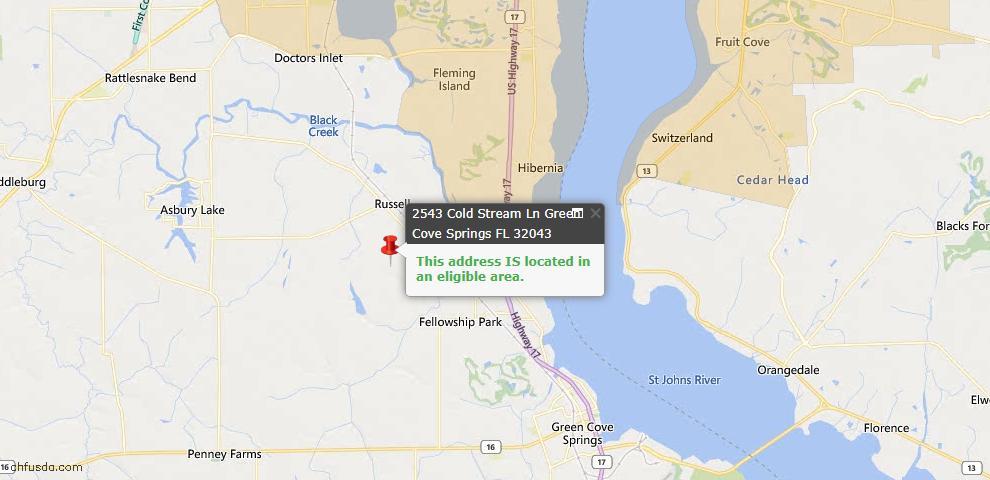 USDA Loan Eligiblity Map - 2543 Cold Stream Ln, Green Cove Spr, FL 32043