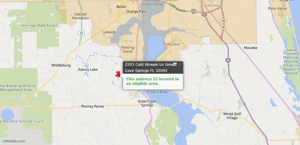 USDA Loan Eligiblity Map - 2555 Cold Stream Ln, Green Cove Spr, FL 32043