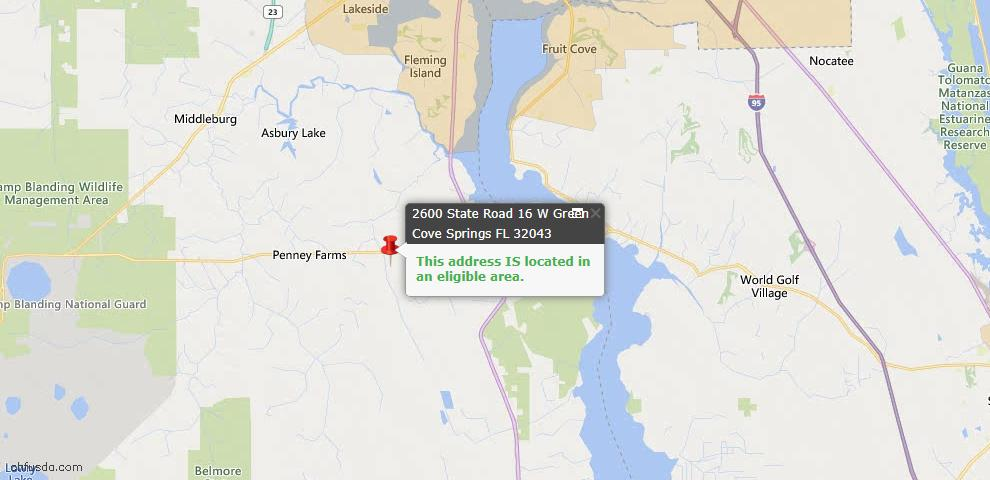 USDA Loan Eligiblity Map - 2600 State Road 16, Green Cove Spr, FL 32043