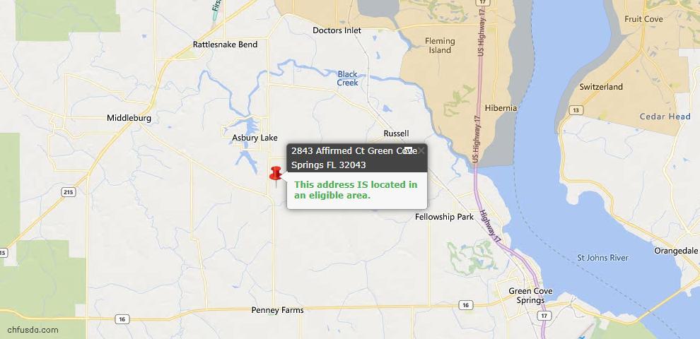 USDA Loan Eligiblity Map - 2843 Affirmed Ct, Green Cove Spr, FL 32043
