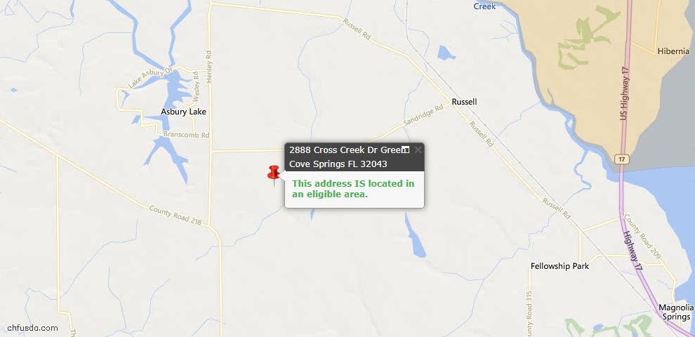USDA Loan Eligiblity Map - 2888 Cross Creek Dr, Green Cove Spr, FL 32043