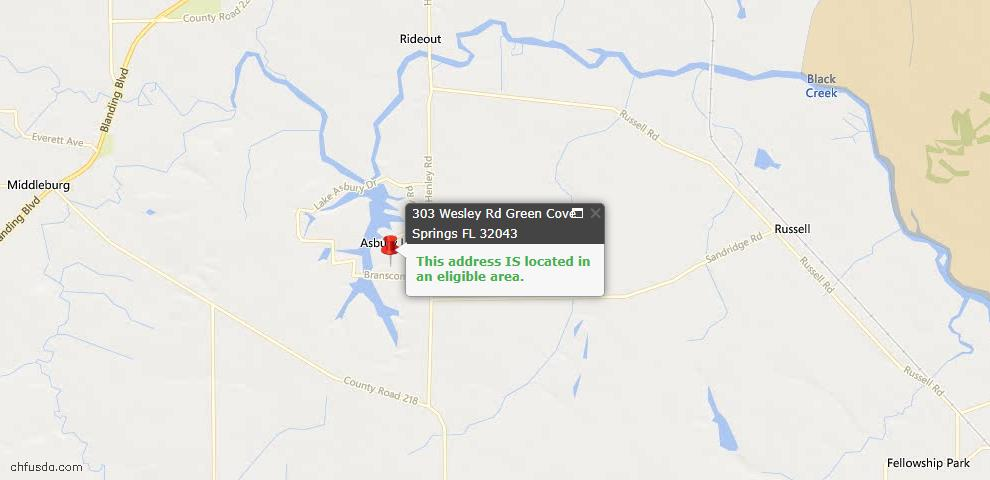 USDA Loan Eligiblity Maps From - Green Cove Springs, FL