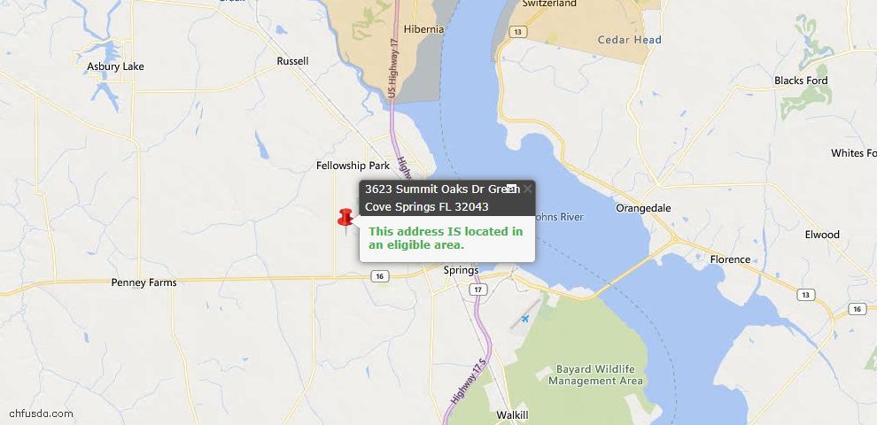 USDA Loan Eligiblity Map - 3623 Summit Oaks Dr, Green Cove Spr, FL 32043