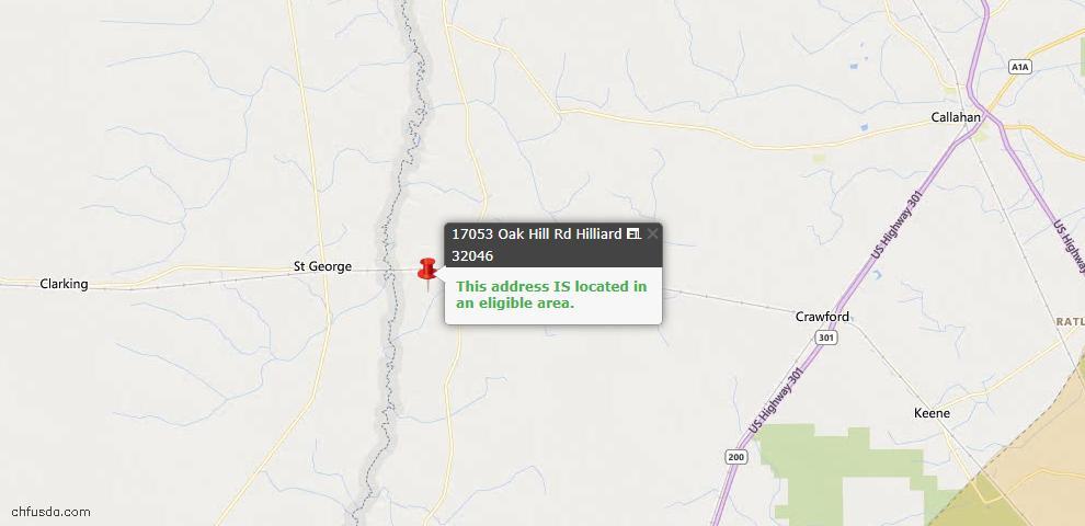 USDA Loan Eligiblity Map - 17053 Oak Hill Rd, Hilliard, FL 32046