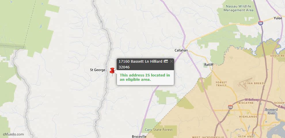 USDA Loan Eligiblity Map - 17160 Bassett Ln, Hilliard, FL 32046