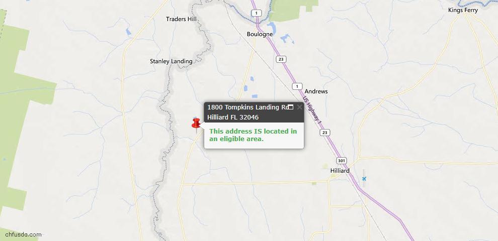 USDA Loan Eligiblity Map - 1800 Tompkins Landing Rd, Hilliard, FL 32046