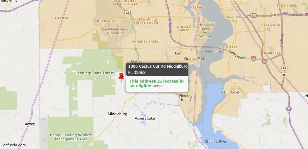 USDA Loan Eligiblity Map - 1006 Cactus Cut Rd, Middleburg, FL 32068