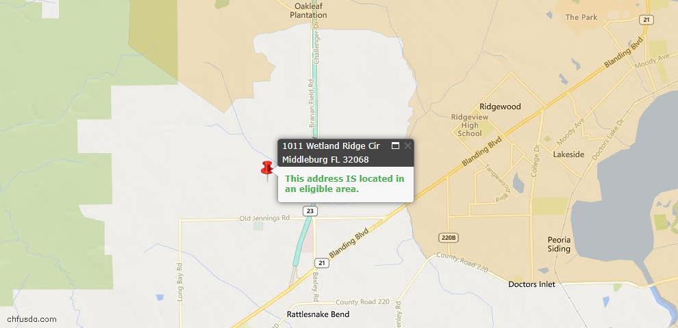 USDA Loan Eligiblity Map - 1011 Wetland Ridge Cir, Middleburg, FL 32068