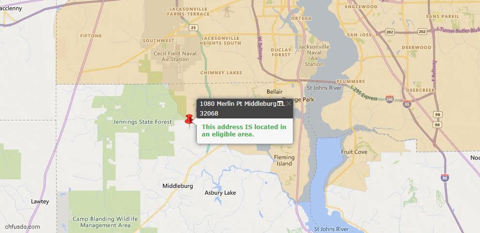 USDA Loan Eligiblity Map - 1080 Merlin Pt, Middleburg, FL 32068