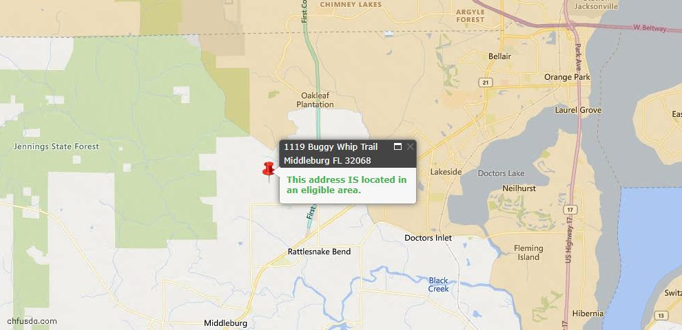 USDA Loan Eligiblity Map - 1119 Buggy Whip Trl, Middleburg, FL 32068