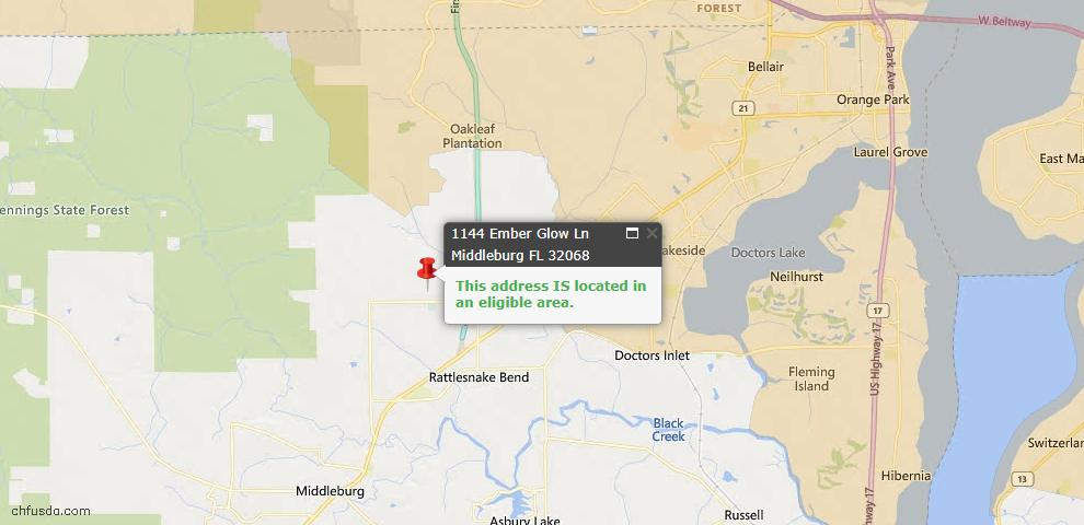 USDA Loan Eligiblity Map - 1144 Ember Glow Ln, Middleburg, FL 32068