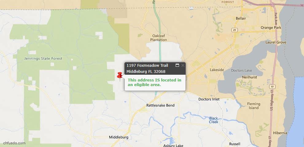 USDA Loan Eligiblity Map - 1197 Foxmeadow Trl, Middleburg, FL 32068