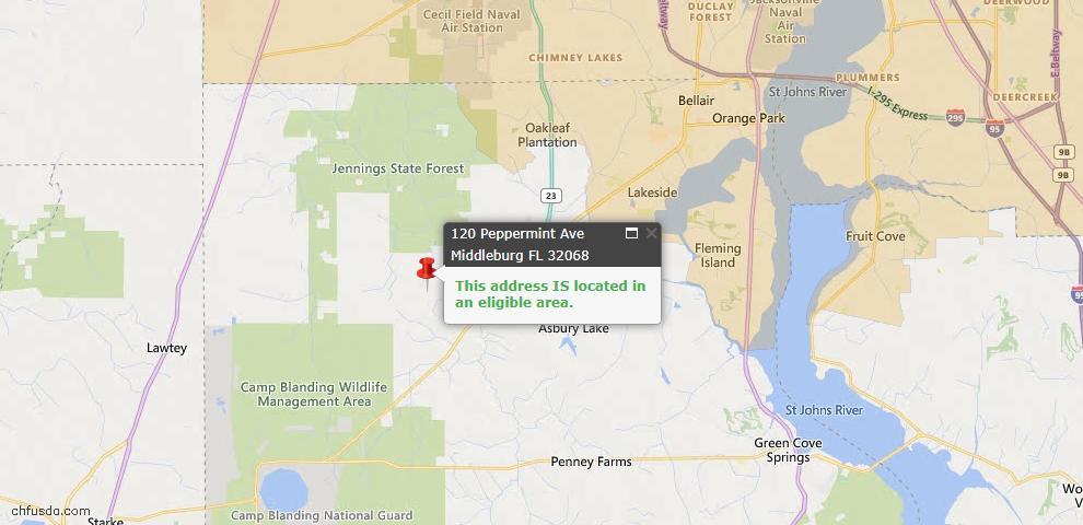 USDA Loan Eligiblity Map - 120 Peppermint Ave, Middleburg, FL 32068