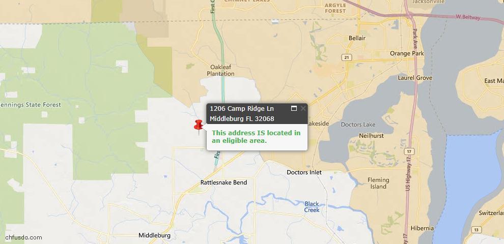 USDA Loan Eligiblity Map - 1206 Camp Ridge Ln, Middleburg, FL 32068