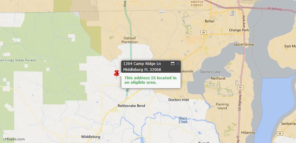 USDA Loan Eligiblity Map - 1264 Camp Ridge Ln, Middleburg, FL 32068