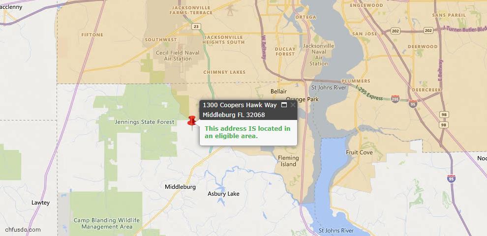 USDA Loan Eligiblity Map - 1300 Coopers Hawk Way, Middleburg, FL 32068