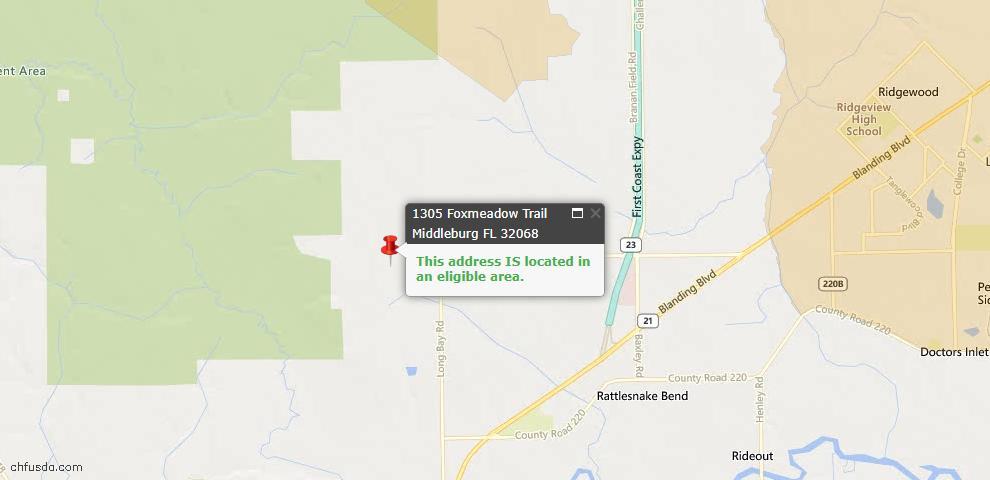 USDA Loan Eligiblity Map - 1305 Foxmeadow Trl, Middleburg, FL 32068