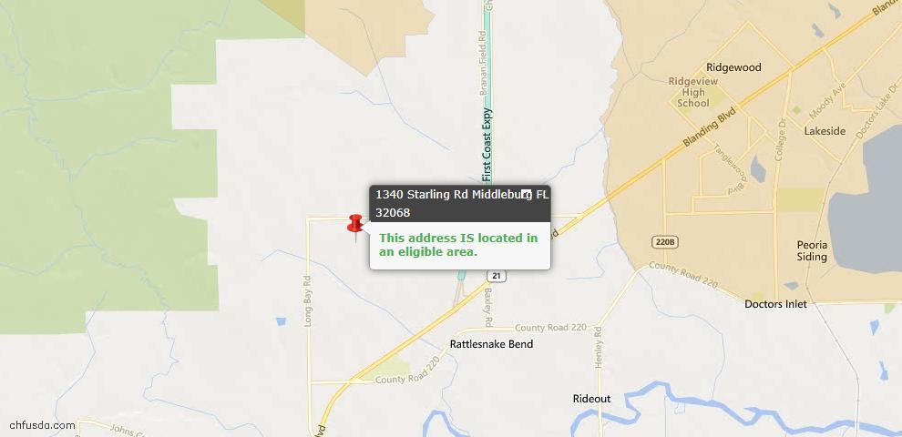 USDA Loan Eligiblity Map - 1340 Starling Rd, Middleburg, FL 32068