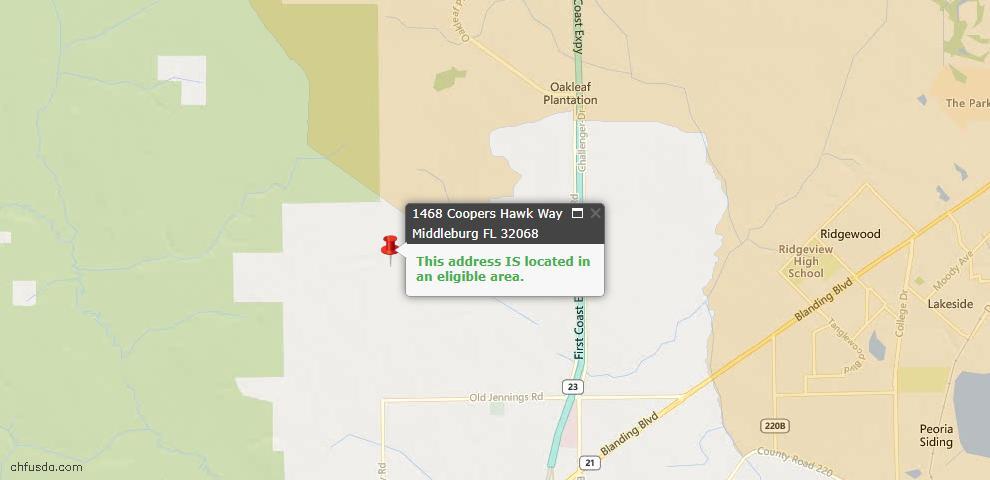 USDA Loan Eligiblity Map - 1468 Coopers Hawk Way, Middleburg, FL 32068