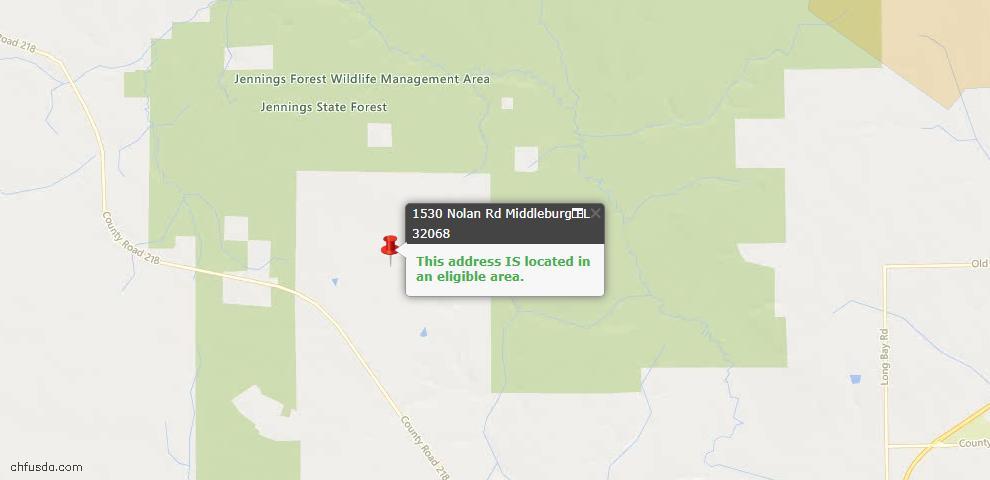 USDA Loan Eligiblity Map - 1530 Nolan Rd, Middleburg, FL 32068