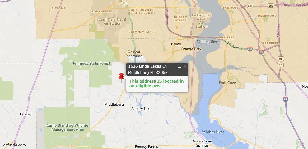 USDA Loan Eligiblity Map - 1636 Linda Lakes Ln #0004, Middleburg, FL 32068