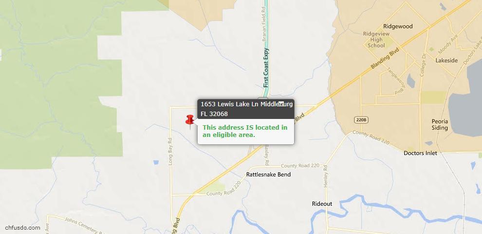 USDA Loan Eligiblity Map - 1653 Lewis Lake Ln #0079, Middleburg, FL 32068