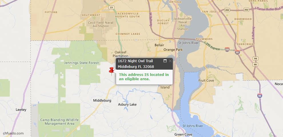 USDA Loan Eligiblity Map - 1672 Night Owl Trl, Middleburg, FL 32068