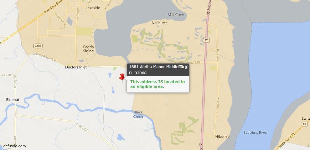 USDA Loan Eligiblity Map - 1681 Aletha Mnr, Middleburg, FL 32068